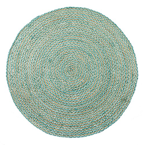 HF by LT Valencia Rug Collection Braided Round Area Rug, 5' Durable and Sustainable Chindi and Jute, Soft Teal, Five Colors Available