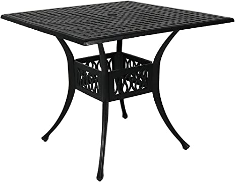 sunnydaze square patio dining table outdoor heavy duty black cast aluminum 4 person outside patio furniture with umbrella hole modern dinette