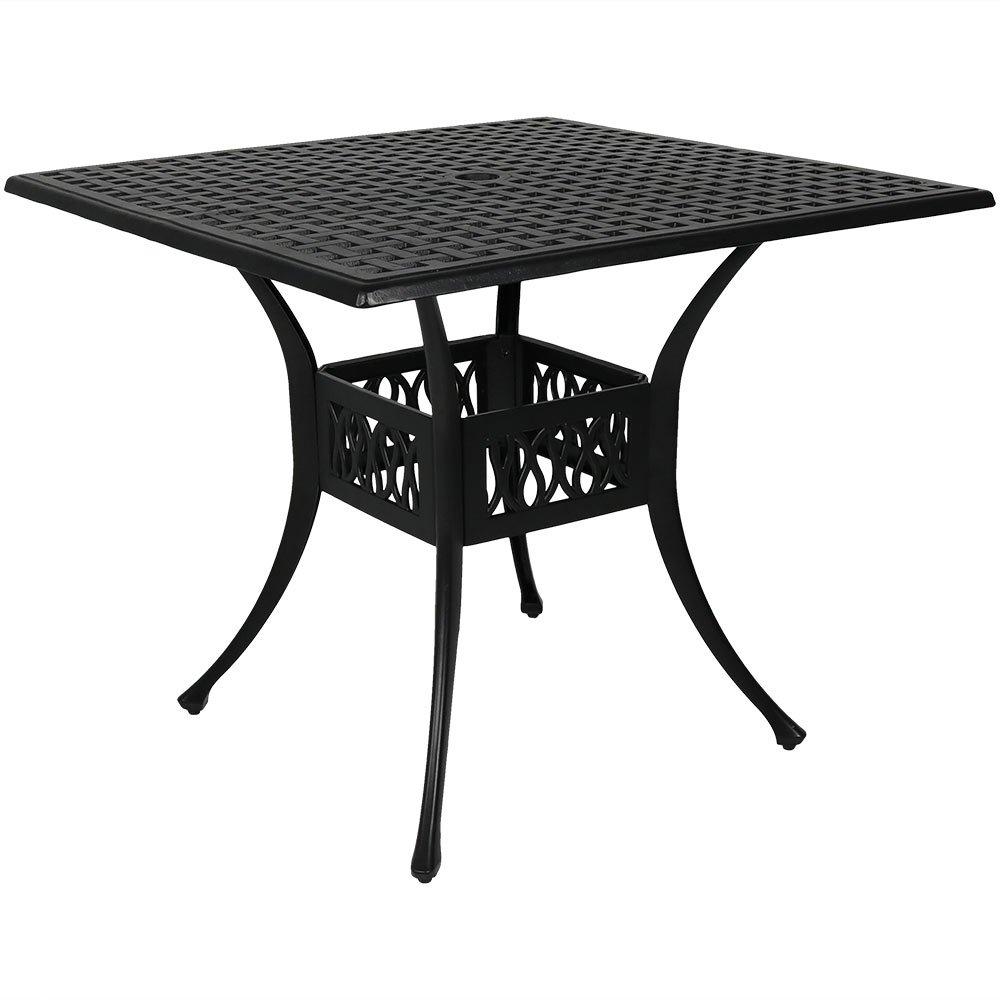 Sunnydaze Outdoor Square Patio Dining Table, Heavy Duty Cast Aluminum, 35-Inch, Black
