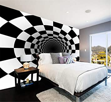 3D Benutzerdefinierte Foto Schwarz Weiß Quadrat Tapete ...