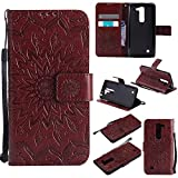 Volt 2 Wallet Case,IVY [Sun Flower] G4 Mini PU Leather Cover Wallet Phone Case for LG Volt 2 / G4 Mini/Magna - Brown