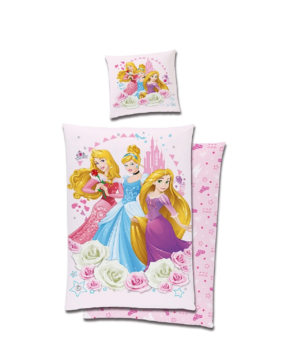 tex idea GmbH Disney Princess Wende Bettwäsche Biber Baumwolle 135x200 Reissverschluss Prinzessin 5750