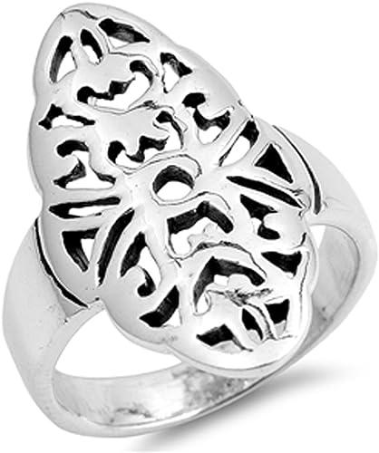 Ring New .925 Sterling Silver Filigree Cutout Band
