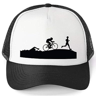 23c103e8e Amazon.com: Triathlon Trucker Hat | Swim Bike Run Silhouettes ...