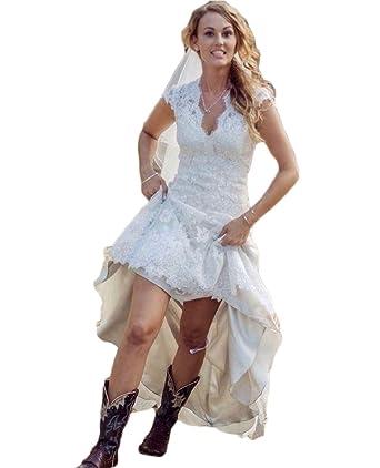 QiJunGe Vintage Country Wedding Dresses V Neck Cap Sleeve High Low ...
