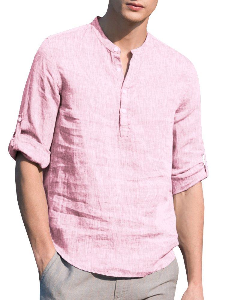 YSkkt Mens Henley Linen Shirts V-Neck Button Down Rolled up Sleeve Tops Casual Summer Fit Thin T-Shirt