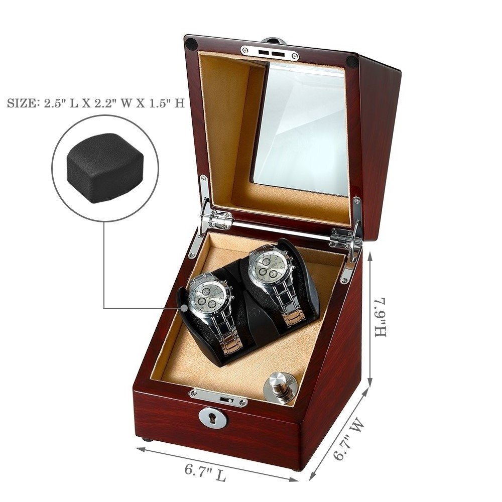 OLYMBROS Wooden Single Automatic Watch Winder Storage Box for 2 Watches with LED Light by Olymbros (Image #3)