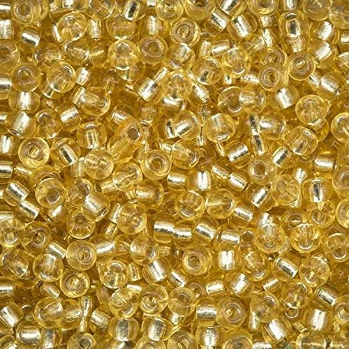 100g Light Gold Silver Lined 6//0 Seed Beads