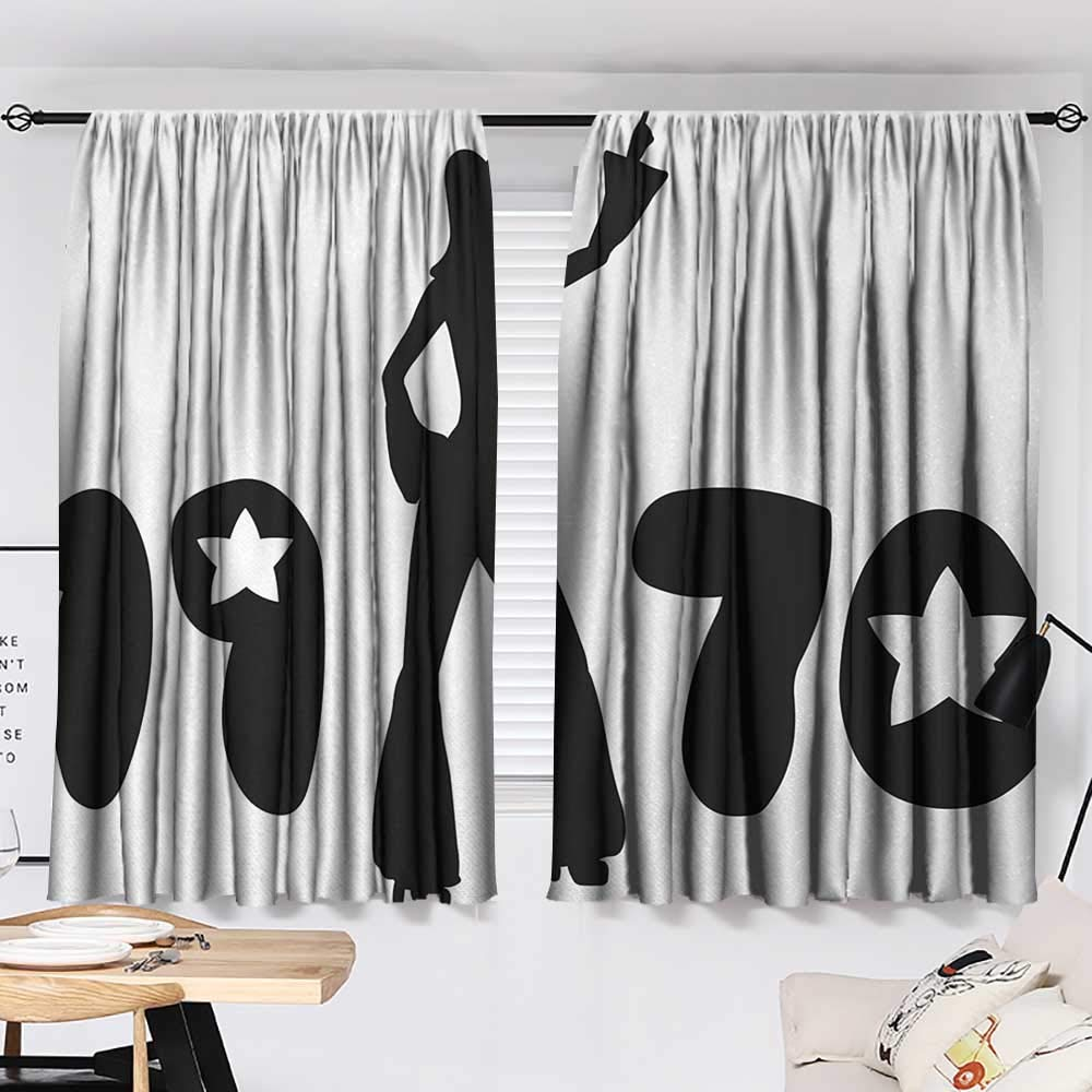 Jinguizi 70s Party Two Panels Retro Seventies Woman Silhouette with Stars Dancing Fashion Youth Design Decor Darkening Curtains Black and White W55 x L39 by Jinguizi (Image #2)