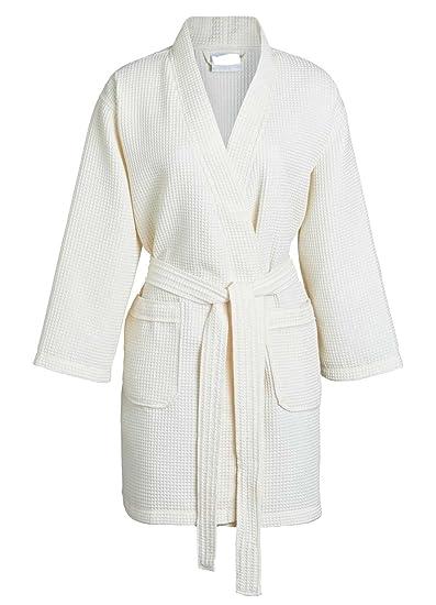 Goza Towels Women s Thight Length Kimono Waffle Spa Robe (Beige 126f9f66e