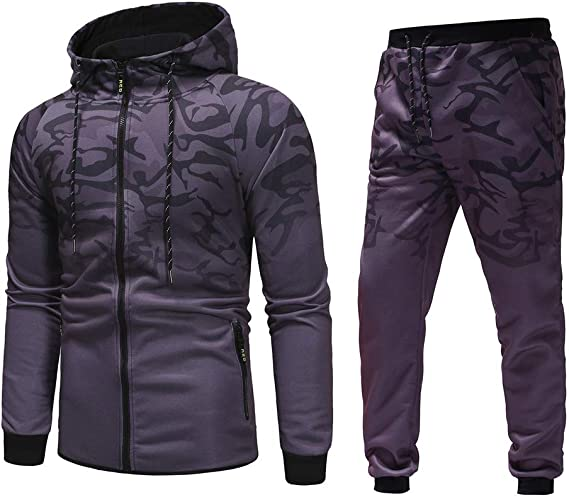 Mens Tracksuit Set Camouflage Sweatshirt Jogger Sweatpants Warm Sports Suit