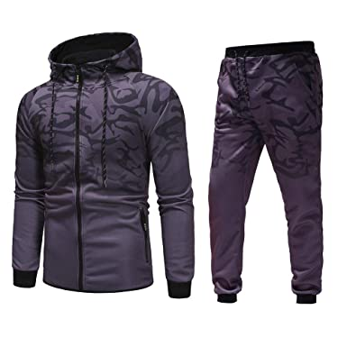 67b22a1cf06 Men Sport Suit Camouflage Top Fitness Sports Hoodie Sweatpants Tracksuit