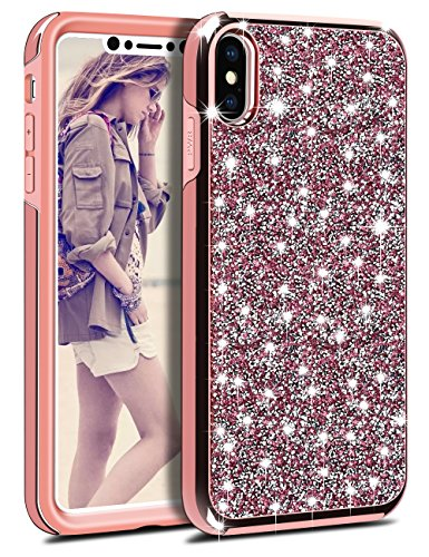 Vofolen Case for iPhone X iPhone XS Case Glitter Bling Crystal Shiny Heavy Duty Protection Drop Impact Resistant Hybrid Protective Shell 2-Layer Soft Bumper Hard Cover for iPhone XS X (Pink Glitter Crystal Hard Case)