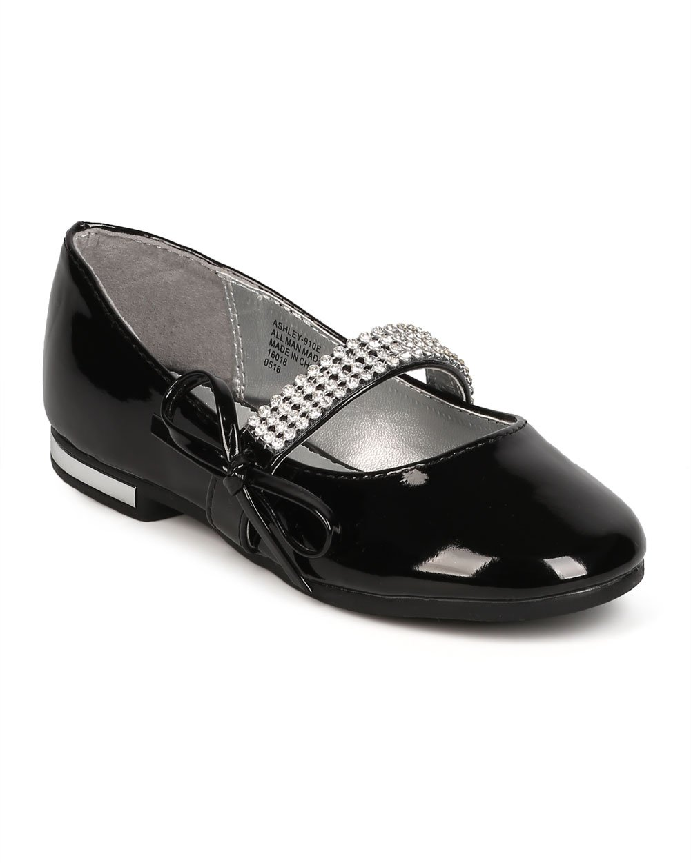 Girl Patent Leatherette Rhinestone Bow Tie Mary Jane Ballerina Flat (Toddler/Kids) FC69 - Black (Size: Little Kid 2)