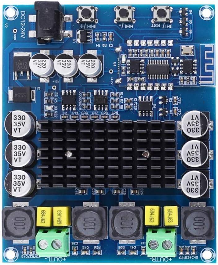 RONGW JKUNYU - Amplificador digital Bluetooth inalámbrico BLE5.0 estéreo DC 12V 24V TPA3116D2 50W+50W 4ohm amplificador de potencia