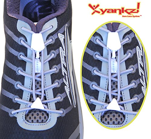 Ibungee Laces - Yankz Surelace Elastic Shoe Laces, 2 point system to lock your laces (No Tie) (Grey Laces with White Locks)