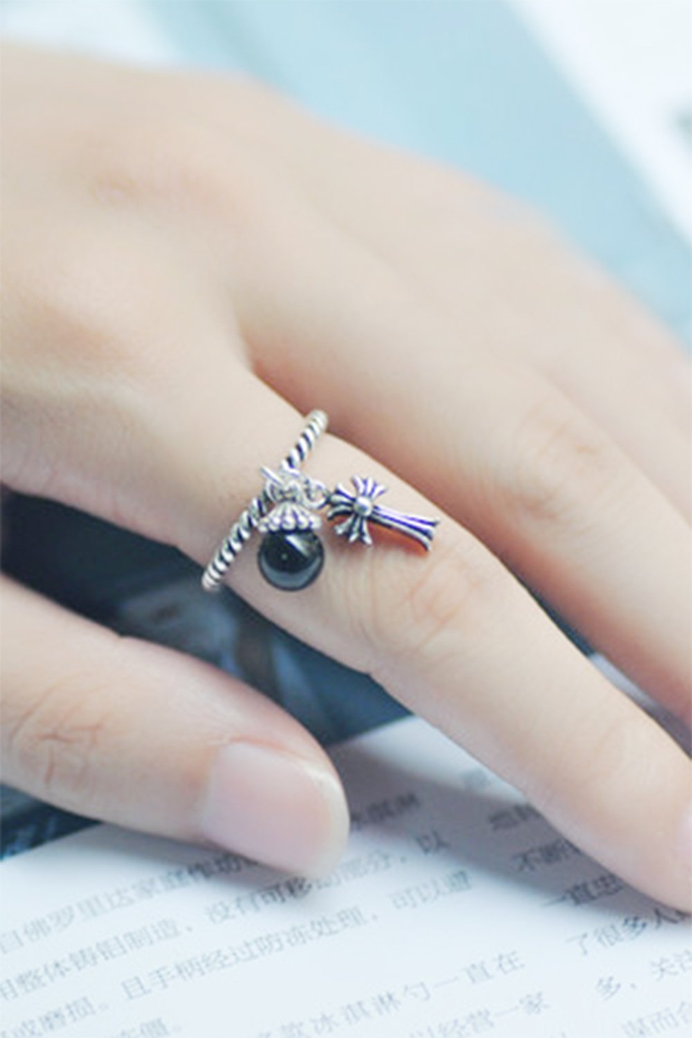 Generic [Cross] S925 silver Thai silver vintage small fresh black onyx personality finger ring women girls lady silver tassels