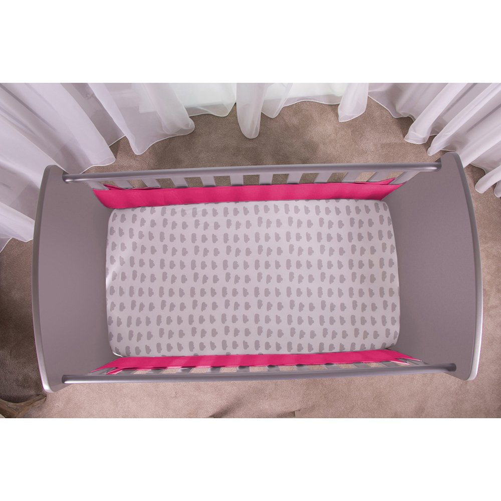 Safe Dreams 2 Sided Hypoallergenic Raspberry Cot Bumper Safebreathe Technology