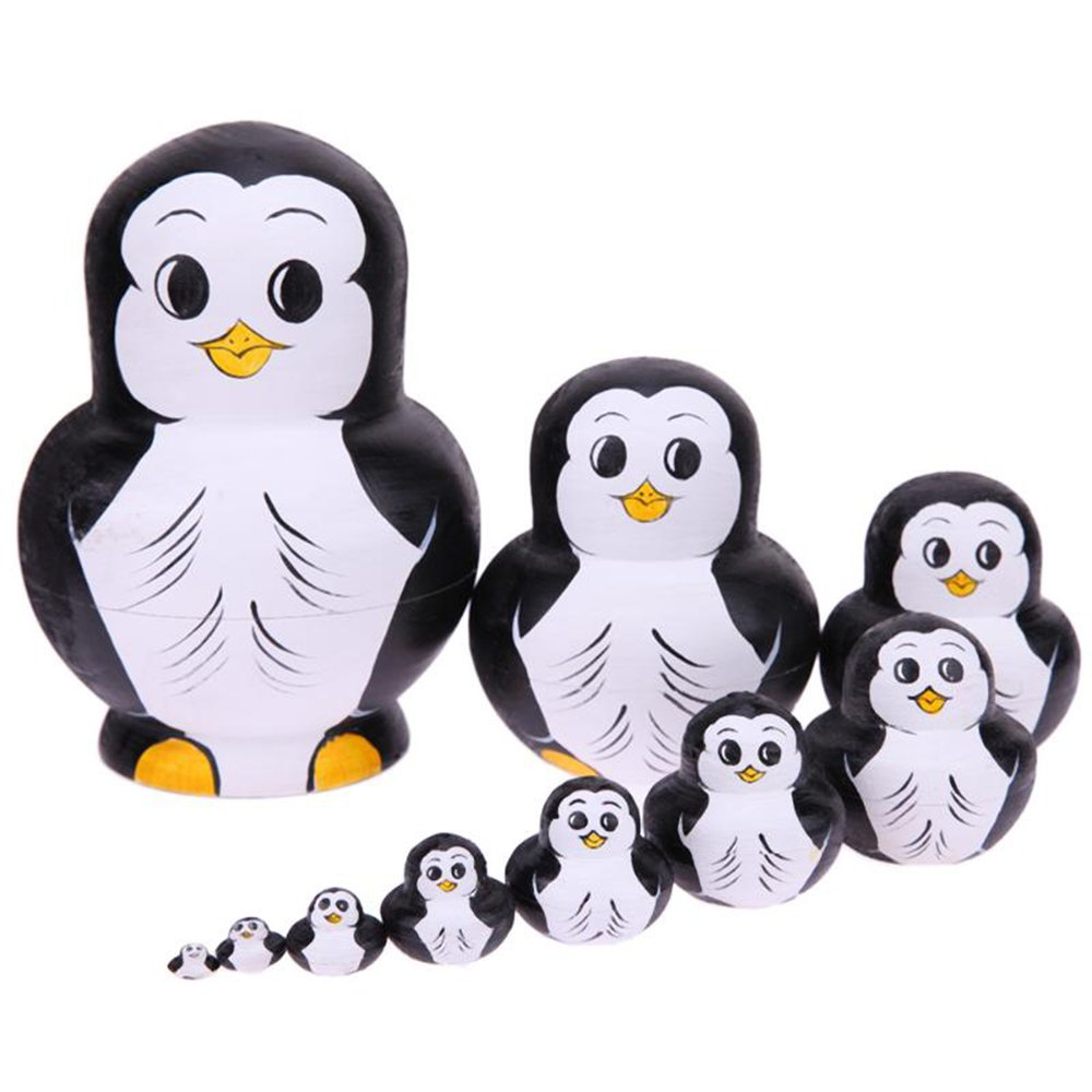 ZOE 10Pcs Basswood Animal Penguin Pattern Nesting Wishing Dolls Matryoshka Russian Kids Miglior Regalo Home Decor