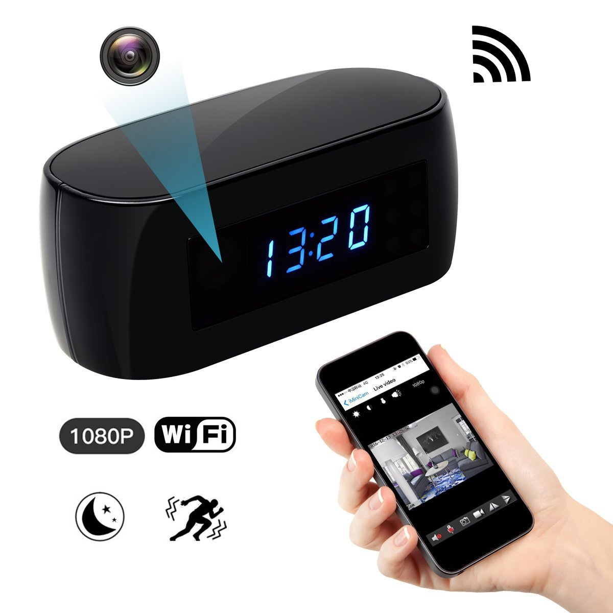 Spy Hidden Wi-Fi Camera, ZDMYING Wireless Alarm clock Security camera HD 1080 Remote View Night Vision Motion Detection Loop Recording for Home Office Car Nanny Surveillance Camera by ZDMYING