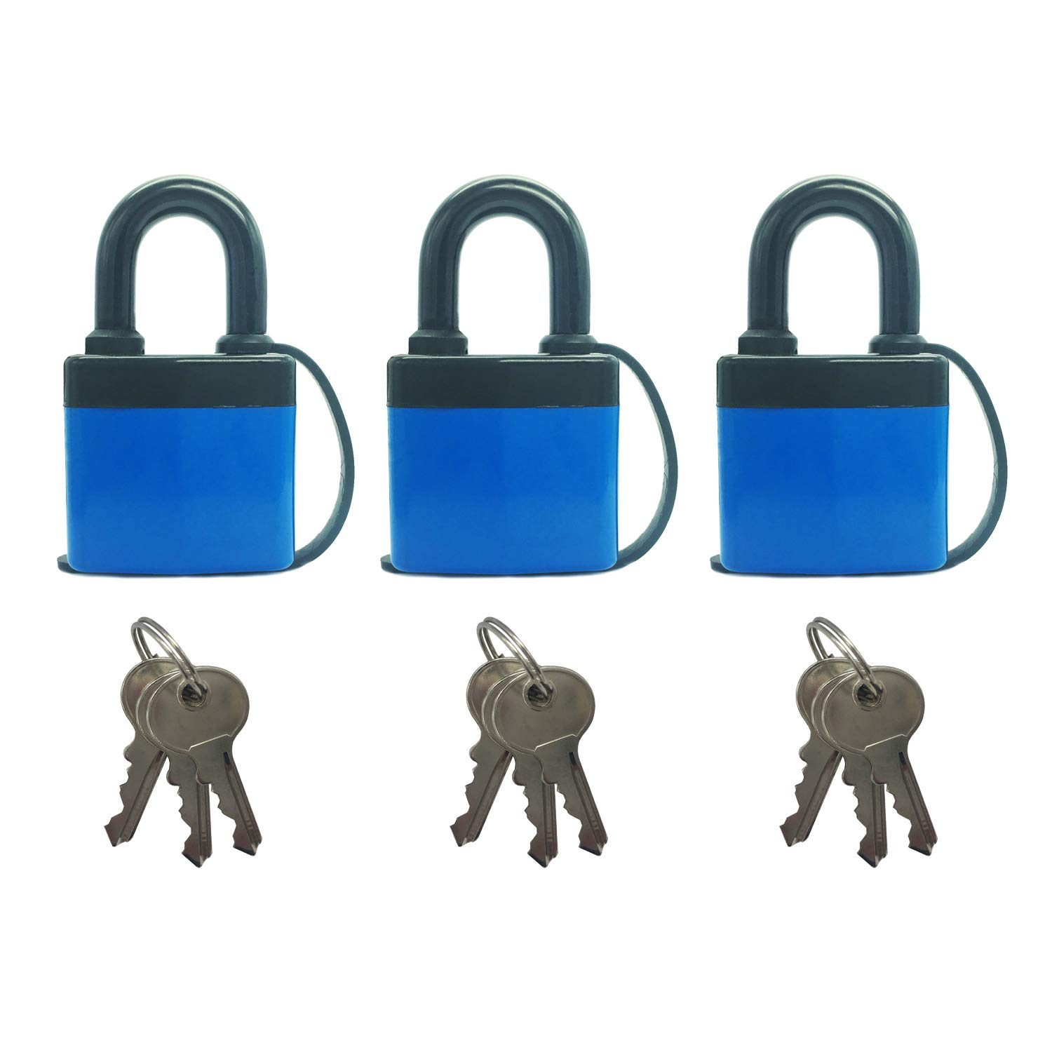 SEPOX Waterproof Laminated Steel Padlock Keyed Alike with Harden Shackle Pack of 3 - Ideal for Home, Garden Shed, Outdoor, Garage, Gate Security