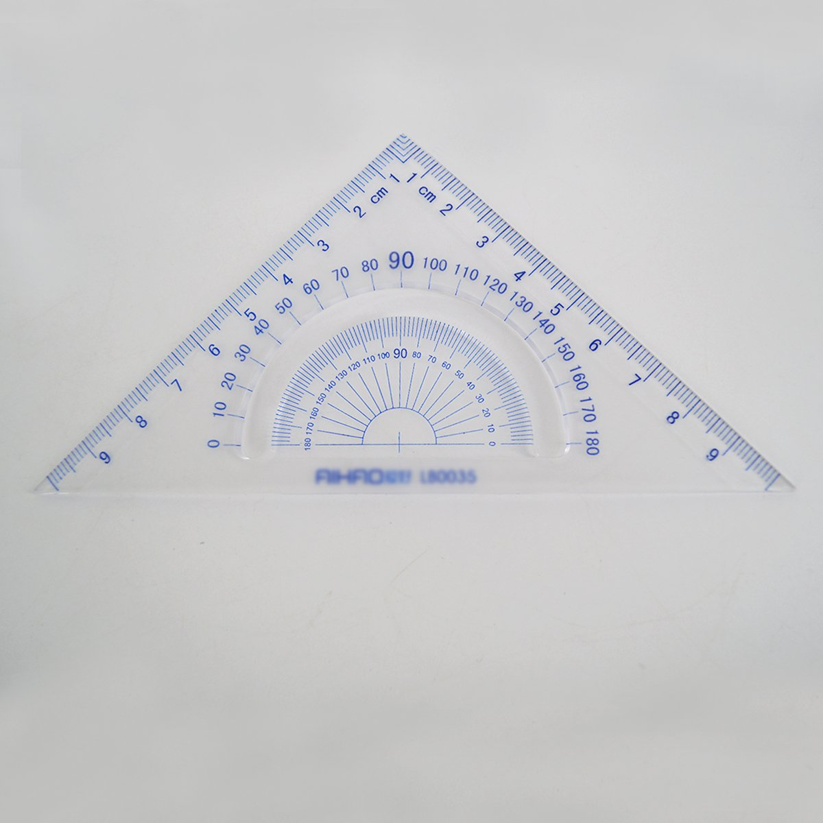 Monique 4 Pieces Math Geometry Tool Set Clear Plastic Ruler Set Straight Rule Triangle Rule Protractor Dark Blue Package