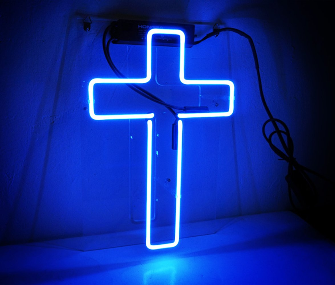 Funny Wall Sign Decor Neon Decorative Lights Christmas Birthday Party Wedding Home Office Decorations Custom Gift Blue Cross