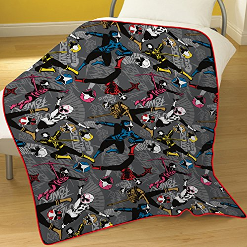 Character Power Rangers 'Ninja Steel' Rotary 100% Polyester Fleece Blanket (Power Rangers Blankets)