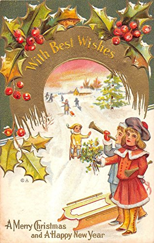 Instrument Antique (3 Christmas greetings children musical instruments sled antique pc Y4684)