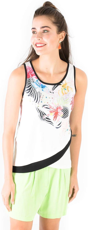 Smash! Top Camiseta de Estilo Casual con Estampado Posicional Tropical Top sin Mangas con Cuello Redondo de Verano para Mujer Tank Top Hani