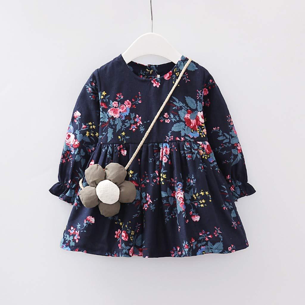 Lucoo Kids Girls Clothes Long Sleeves Floral Printed Princess Dress Flower Shoulder Bag Outfits Set