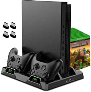 OIVO Cooling Stand for Xbox One/S/X, 2 Cooling Fan, Dual Controller Charging Dock Station with LED Indicators and 15 Game Slots for Xbox One/S/X