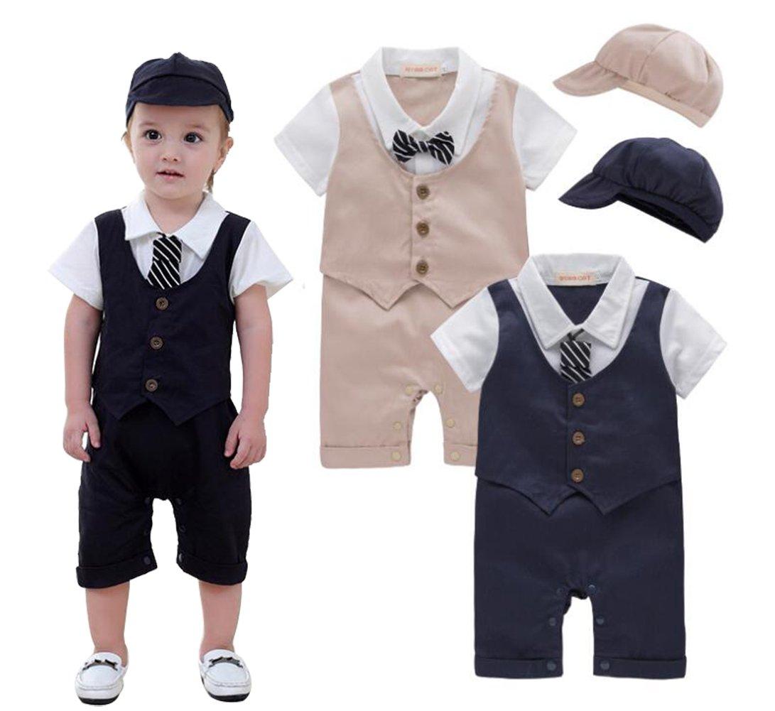 EGELEXY Baby Tie Striped Vest Formal Wear Wedding Baby Boy Romper Oneise Size 6-12 Months (Dark Blue)