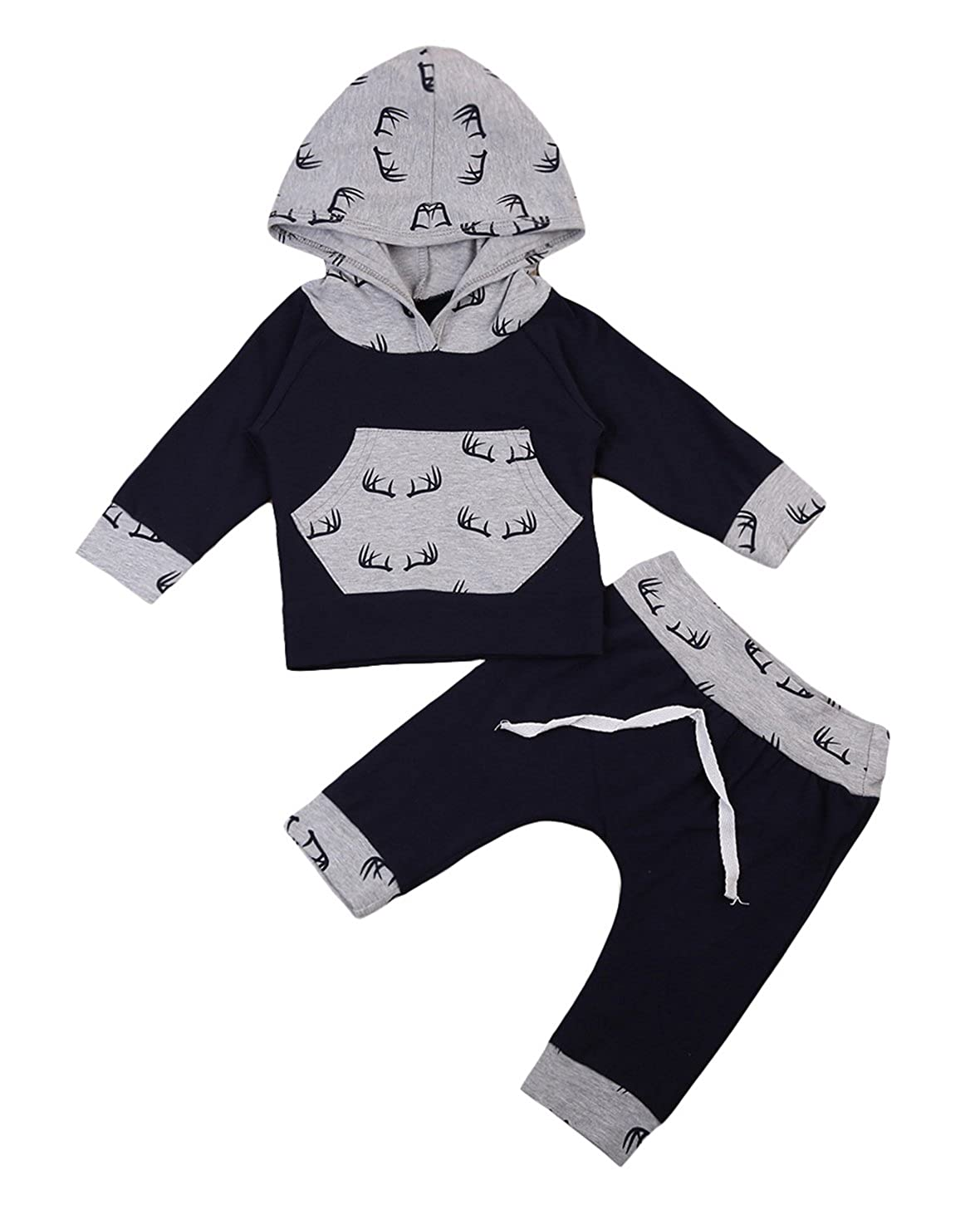 Cute Newborn Kids Baby Boy Girl Cotton Deer Pattern Hoodie Tops+Pants 2Pc Outfit Set
