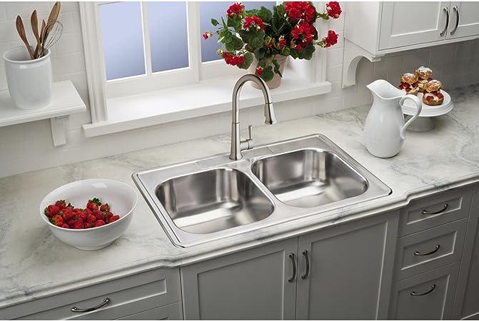 Elkay DSE233214 Dayton Equal Double Bowl Drop-in Stainless Steel Sink