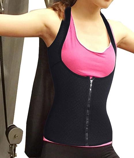 fbb070a40f4 Waist Cincher Zipper Corset Waist Trainer hot Sweat Shapers Sauna Suits  Waist Trimmer Slimming Shirt Shapewear for Women Slip Tummy Control  Underwear ...