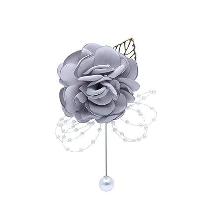 Wedding Boutonniere Groom Groomsman Faux Pearl Flower Corsage Decoration