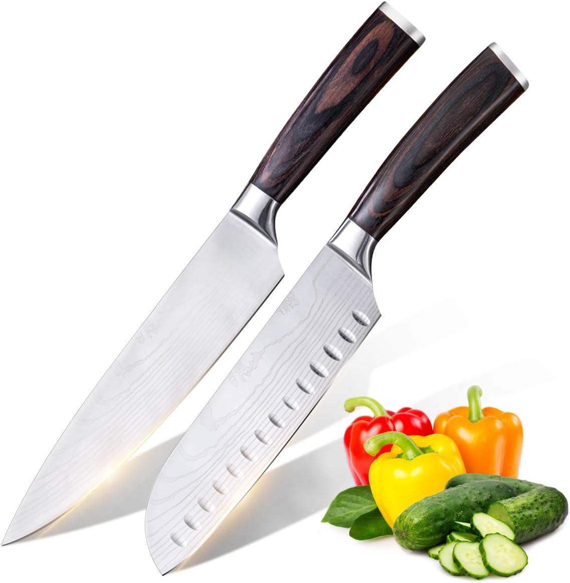 Anhichef Set de Cuchillos de Cocina, Cuchillos de Cocina Damasco Profesionales 20cm + Cuchillo Santoku Japones 18cm, Acero Inoxidable Alemán de Alto Carbono,Mango Ergonómico