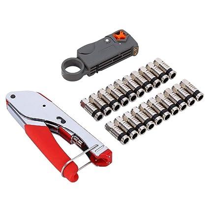 Kit de herramientas de compresión, LouisaYork alicates de crimpado F cabeza, cable coaxial cresta