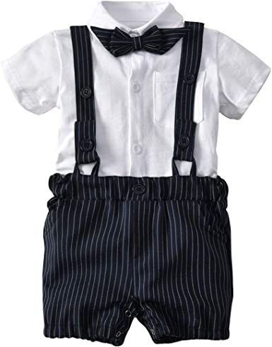 Baby Boys Gentleman Outfits Suits Infant Short Sleeve Shirt+Bib Pants+Bow Tie Overalls Clothes Set White