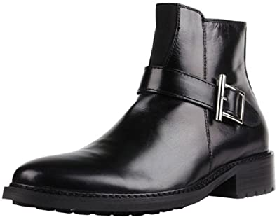 Amazon.com | Fulinken Leather Formal Dress Boots Buckle Ankle ...