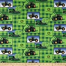 Springs Creative Products John Deere Everyday Cotton Plaid Patch Allover Green Fabric by The Yard