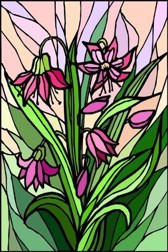 ピンク&レッドの花のBouquet with leaves-etchedビニールStained Glass Film , Static Cling Window Decal 26 in x 41 in B0082J2ODM 26 in x 41 in