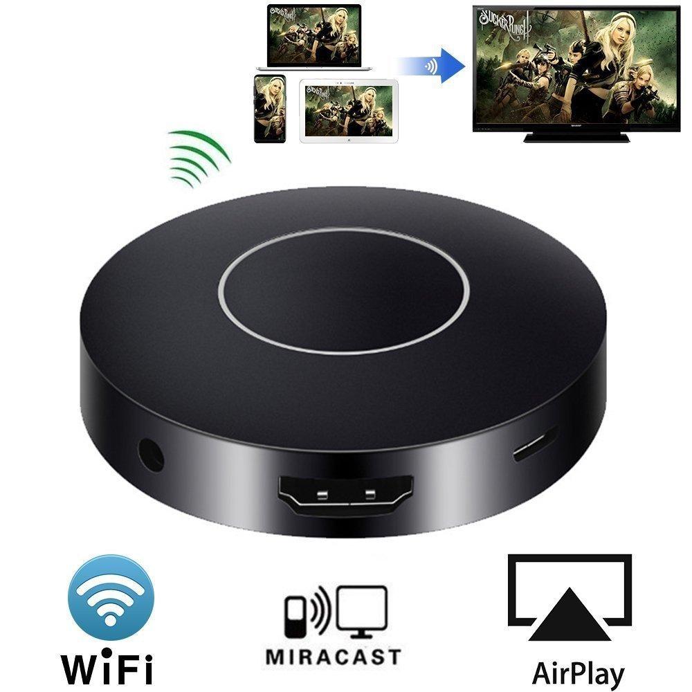 HuiHeng WiFi Display Dongle, Wireless display adapter soporte 1080P Full HD y AV Receptor de pantalla de salida dual para iOS iPhone iPad/Android Smartphones/Windows/Macbook HDMIAVADP03