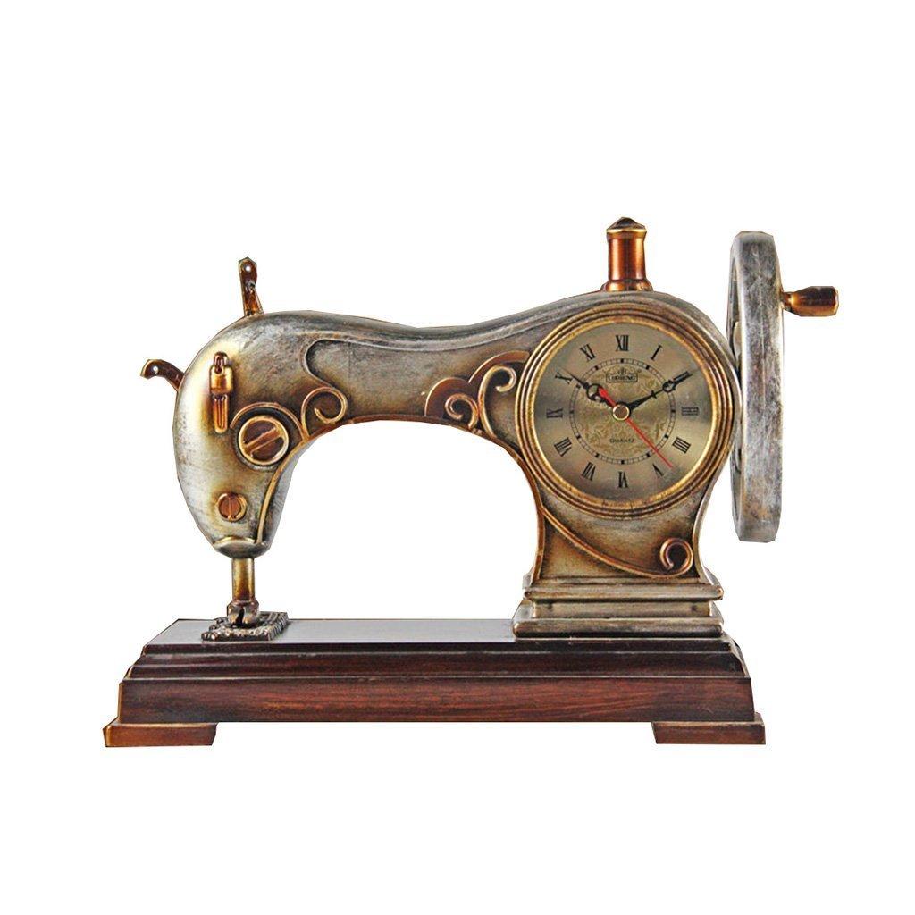 Health UK Clock- Clock 8-Inch Resin Sewing Machine Sitting Clock Modern Art Clock Mute Desk Clock Welcome