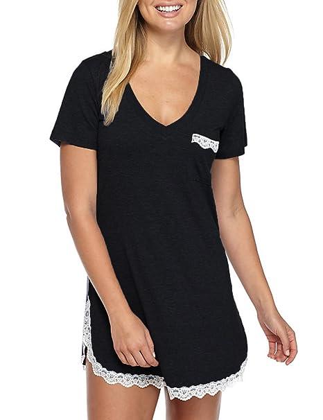 c6dc5ac709 GUANYY Women s Nightgown Cotton Sleepshirt Sexy Lace Chemise Sleepwear  (Black