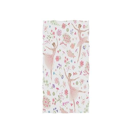 Naanle - Toalla de baño Multiusos con diseño de Bailarina de Bailarina con Estampado Floral,
