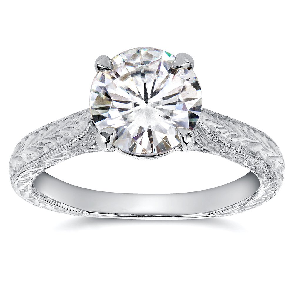 Antique Style Moissanite Engagement Ring with Diamond 1 1/2 CTW 14k White Gold, Size 5.5