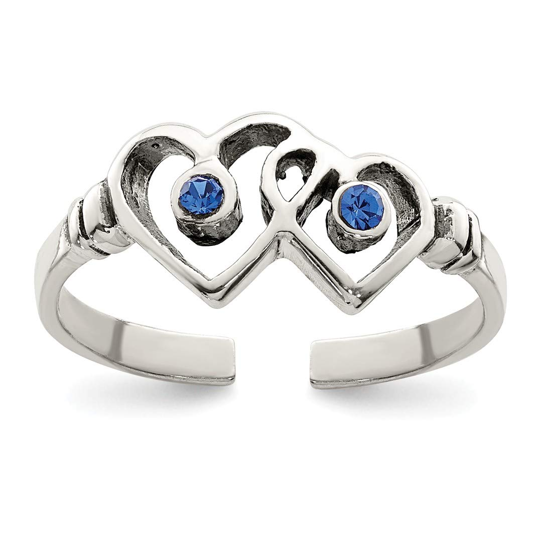 IceCarats 925 Sterling Silver Antiqued Blue Cz Heart Toe Ring 4455642192853243829