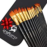 Craftamo Paint Brush Set - Use as Watercolor Brushes, Face Paint Brushes, and Acrylic Paint Brushes. 15 Paint Brushes with Carry Case.